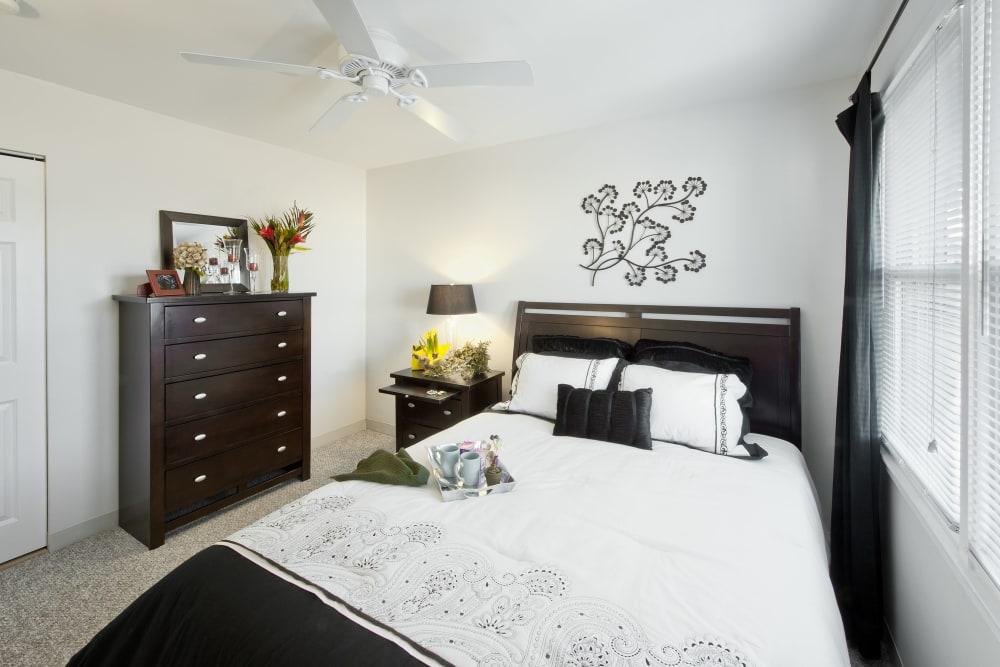 Lovely model bedroom at Brandywyne Village in East Boston, Massachusetts