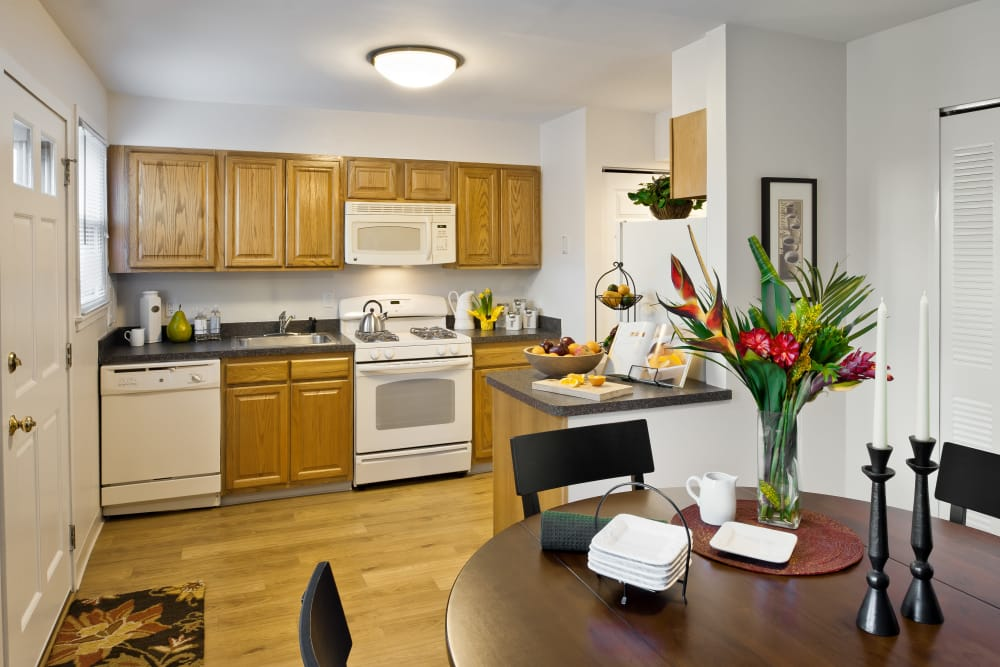 Spacious kitchen and dining area at Brandywyne Village in East Boston, Massachusetts