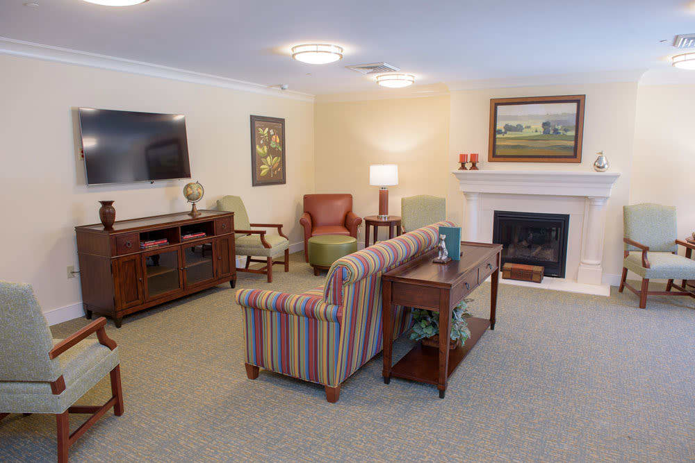 Living room layout at Artis Senior Living of Bartlett in Bartlett, Illinois