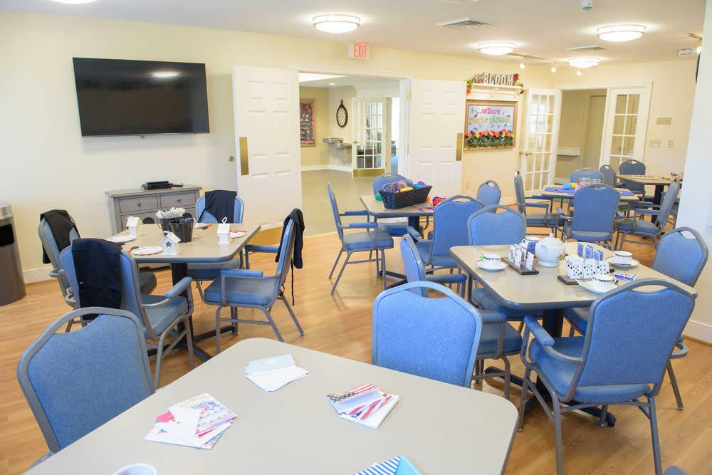 Game room and dining hall at Artis Senior Living of Bartlett in Bartlett, Illinois