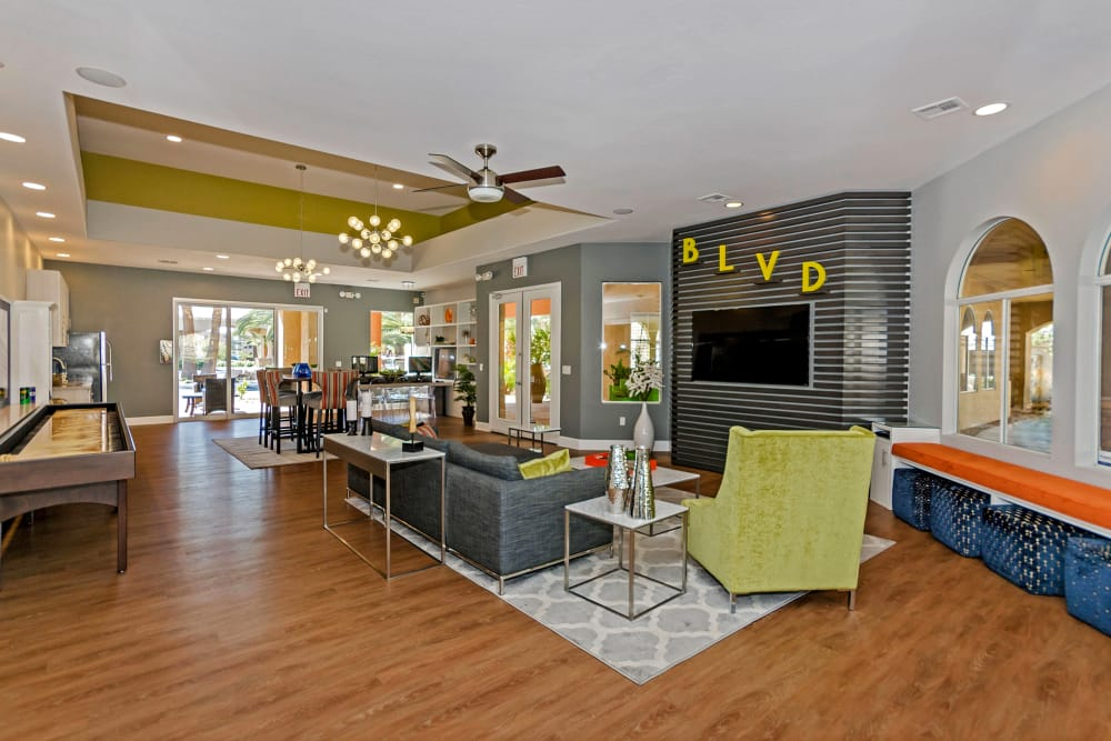 Spacious and modern resident clubhouse with hardwood floors at The Boulevard in Phoenix, Arizona