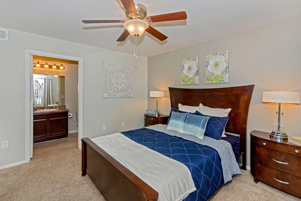 Large master bedroom with ceiling fan at The Boulevard in Phoenix, Arizona