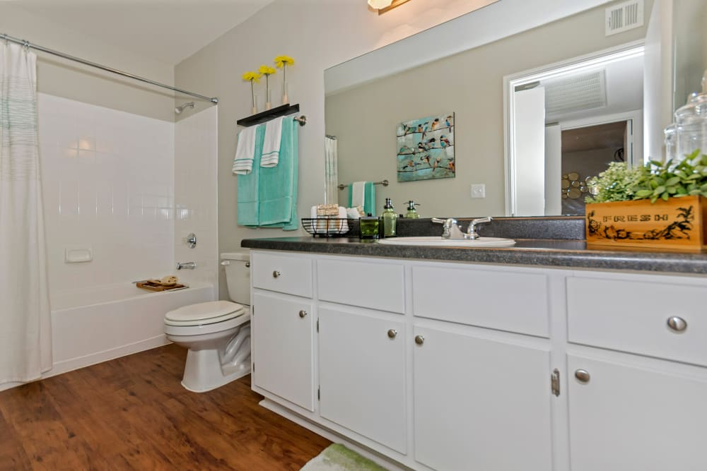 Bright bathroom with plenty of cupboard space at The Boulevard in Phoenix, Arizona