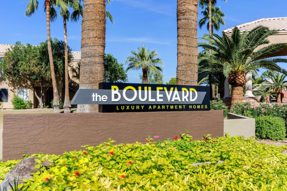 Our sign at the entrance to the community at The Boulevard in Phoenix, Arizona