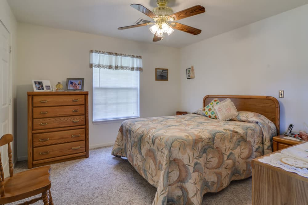 Beautiful bedroom at Carrington Place in Pittsburg, Kansas