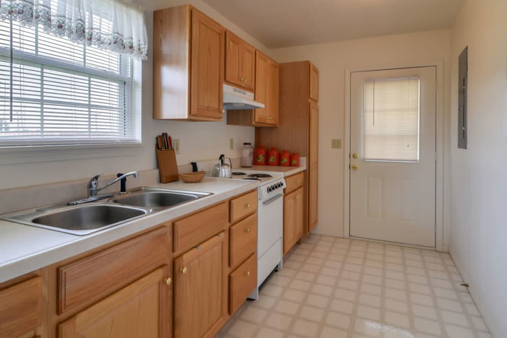 Apartment kitchen at Carrington Place Senior Living in Pittsburg, Kansas