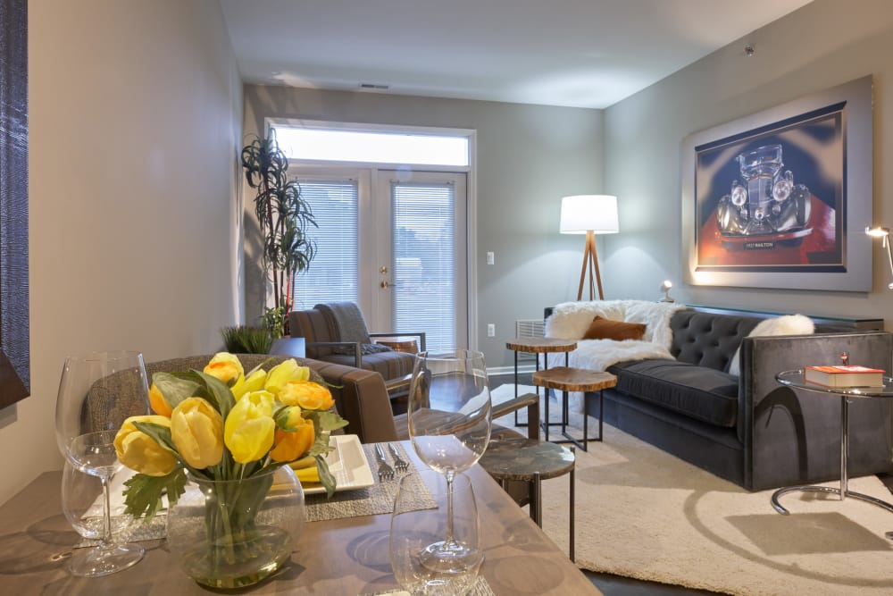 Modern decor in model home's living area at Five Points in Auburn Hills, Michigan