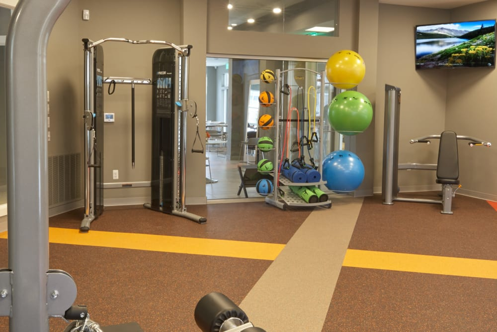 Fully equipped fitness center at Five Points in Auburn Hills, Michigan
