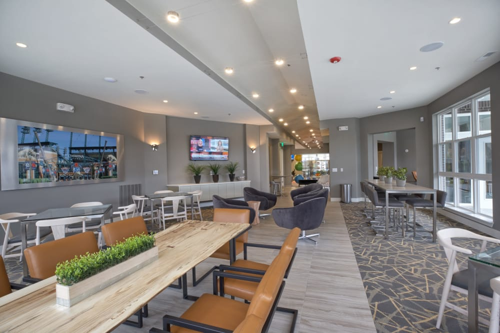 Plenty of room for all in the beautiful resident clubhouse at Five Points in Auburn Hills, Michigan