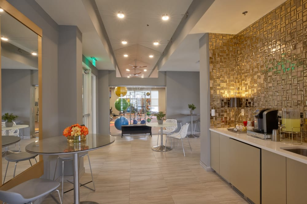 Luxuriously decorated resident clubhouse interior at Five Points in Auburn Hills, Michigan
