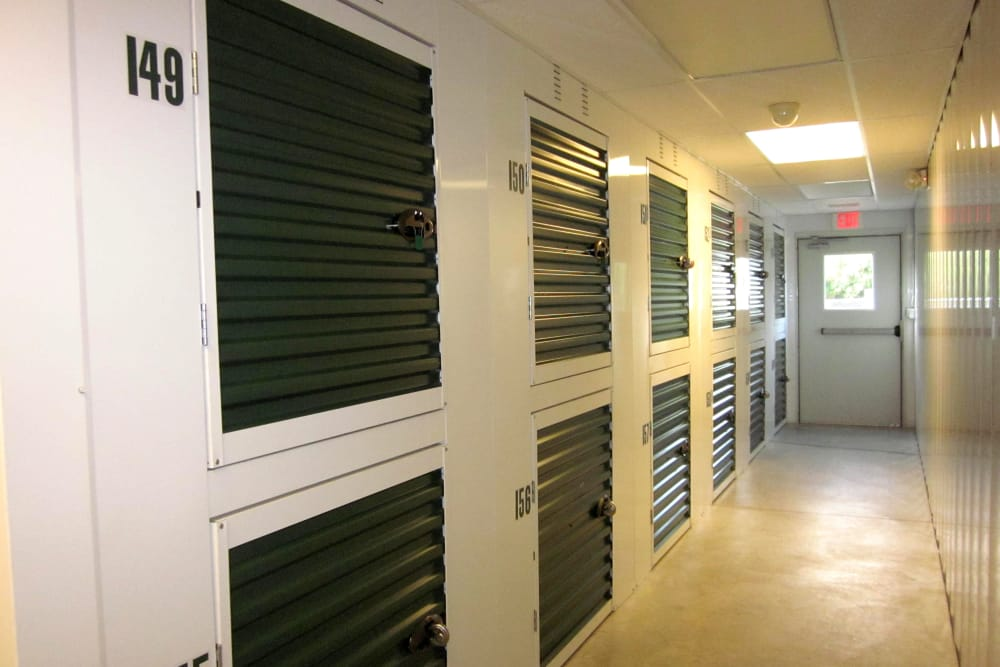 Interior locker units at Mansfield Self Storage in Mansfield, Connecticut
