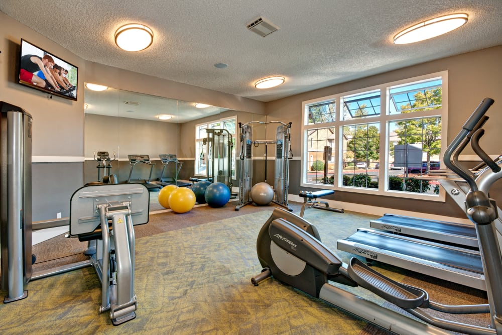 Well-equipped fitness center at StonePointe in University Place, WA