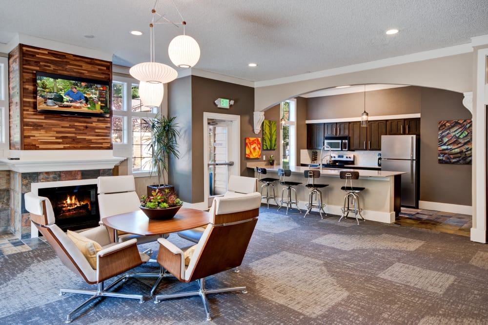 Interior view of the resident clubhouse at StonePointe in University Place, Washington