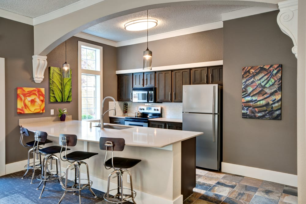 Fully equipped kitchen in the resident clubhouse at StonePointe in University Place, Washington