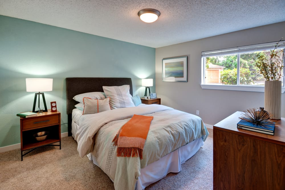 Spacious master bedroom at StonePointe in University Place, Washington