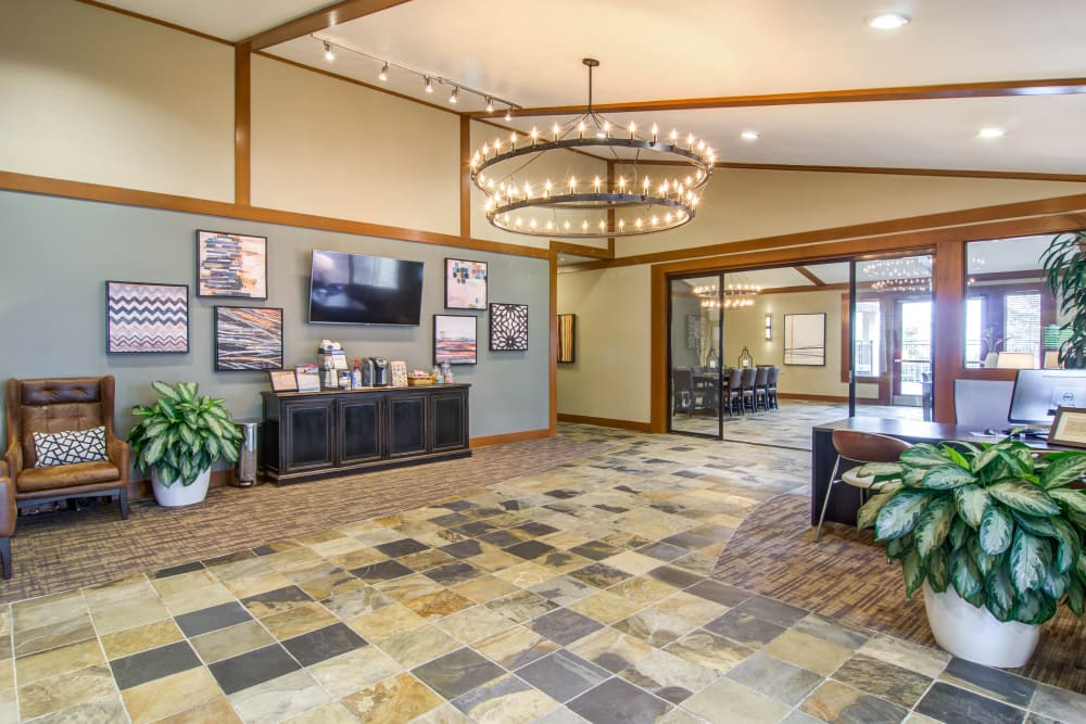 View of the leasing office lobby at Montair at Somerset Hill in Tumwater, WA