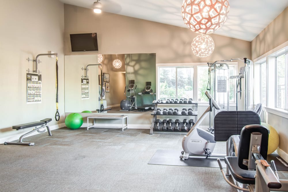 Well-equipped fitness center at Montair at Somerset Hill in Tumwater, WA