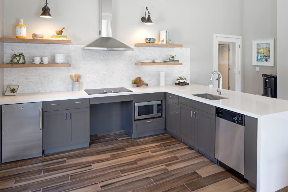 Spacious chef's demonstration kitchen in the clubhouse at Heatherbrae Commons in Milwaukie, Oregon