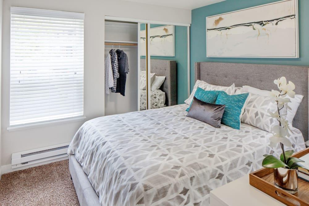 Guest bedroom in model home at Heatherbrae Commons in Milwaukie, Oregon