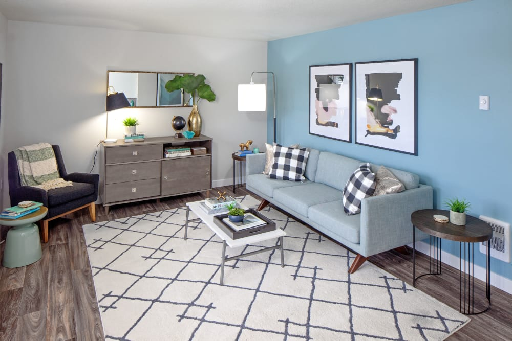 Modern decor in living room of model home at Heatherbrae Commons in Milwaukie, Oregon