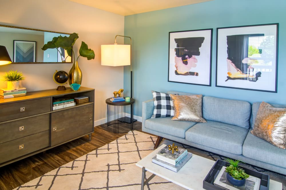 Cozy living area in model home at Heatherbrae Commons in Milwaukie, Oregon