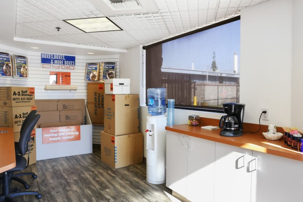 Inside the front office at A-1 Self Storage in Anaheim, California