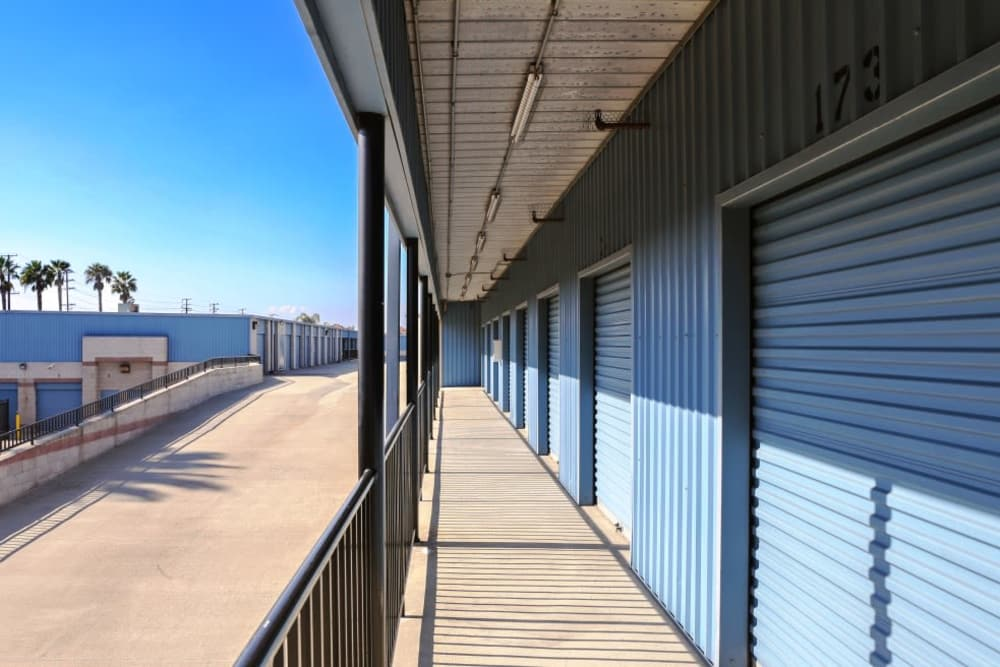 Blue roll up doors on storage units at A-1 Self Storage in Anaheim, California