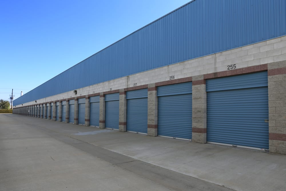 Row of outdoor storage units at A-1 Self Storage in Anaheim, California