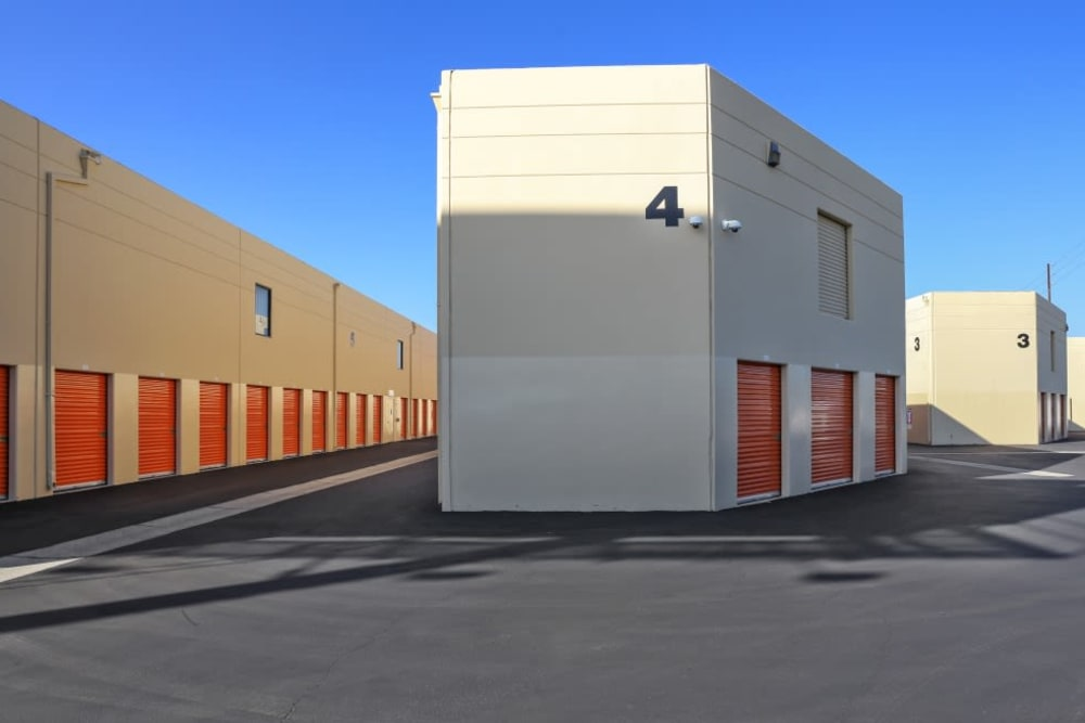 Row of outdoor storage units at A-1 Self Storage in Fountain Valley, California