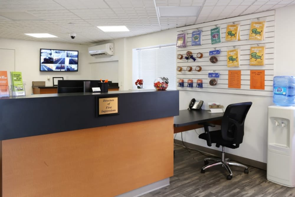 Inside the front office at A-1 Self Storage in Fountain Valley, California