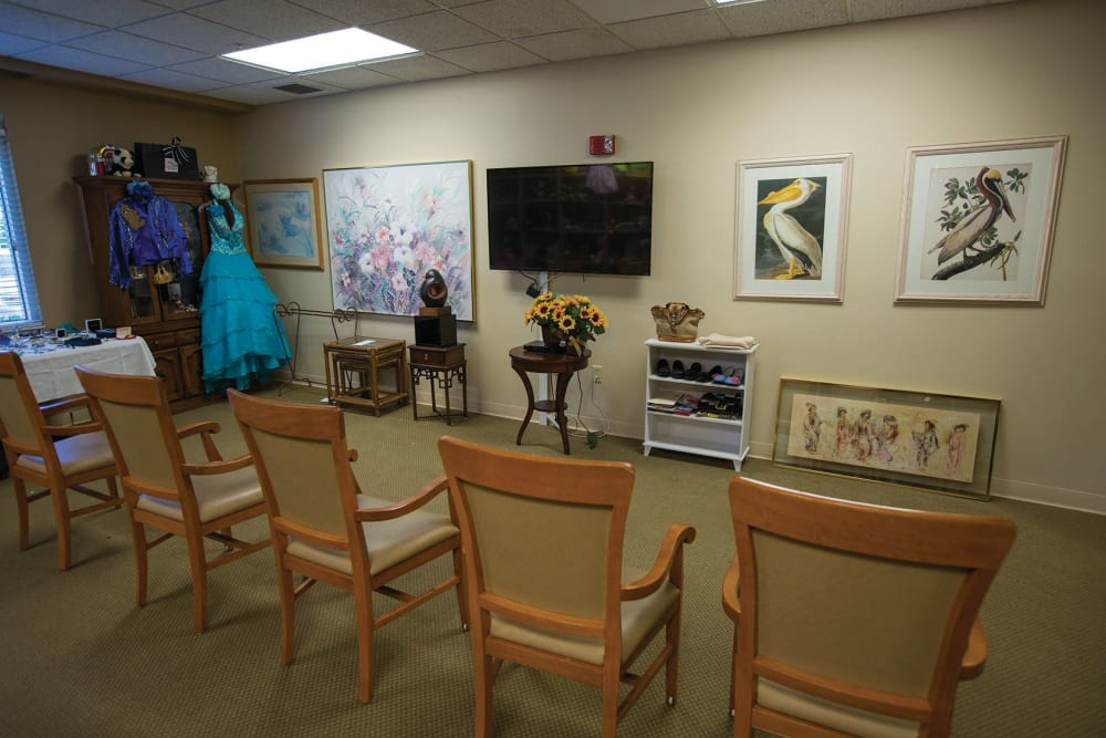 Movie room at assisted living facility in Boynton Beach, Florida