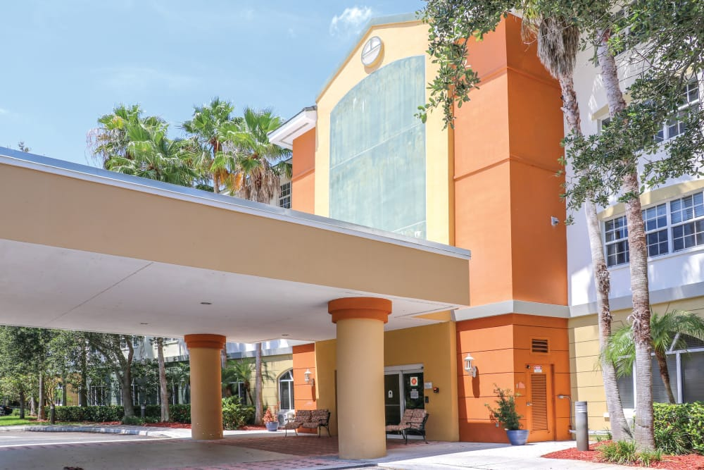 Our assisted living facility front entrance in Boynton Beach, Florida