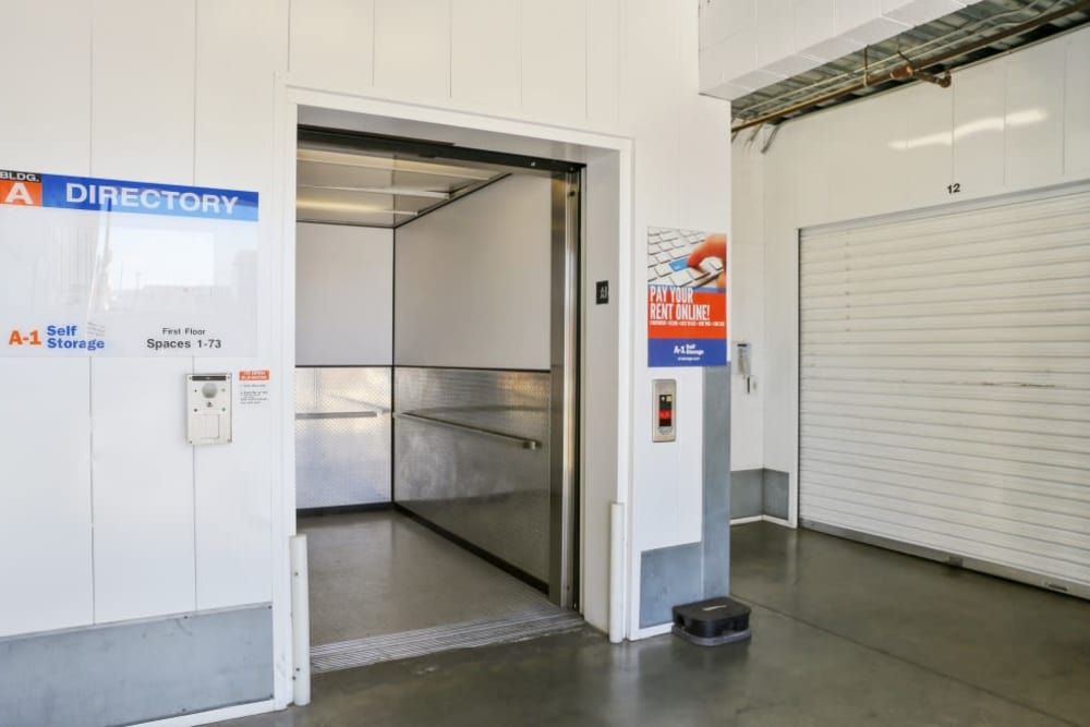 Indoor elevator at A-1 Self Storage in North Hollywood, California