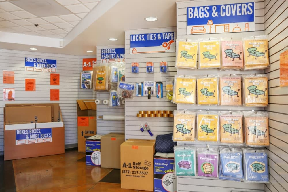 Storage supplies sold at A-1 Self Storage in North Hollywood, California