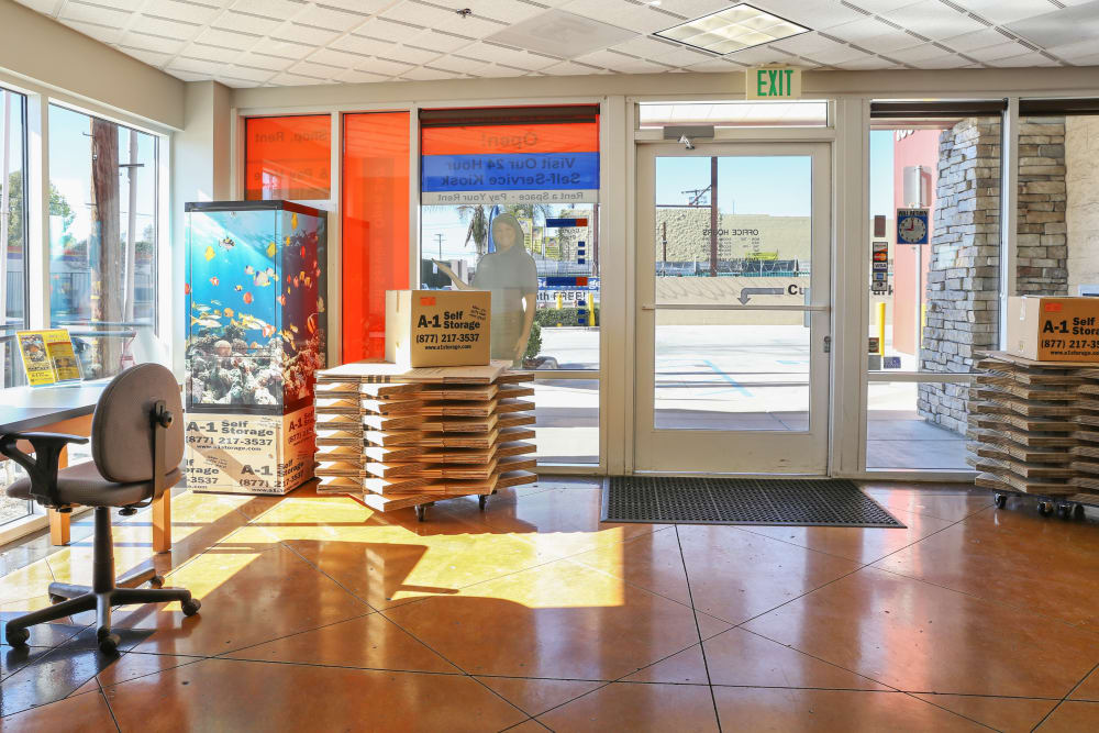 Inside the front office at A-1 Self Storage in North Hollywood, California