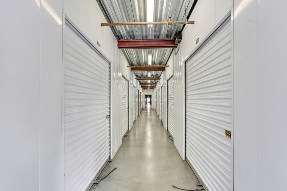 Row of indoor storage units at A-1 Self Storage in Paramount, California