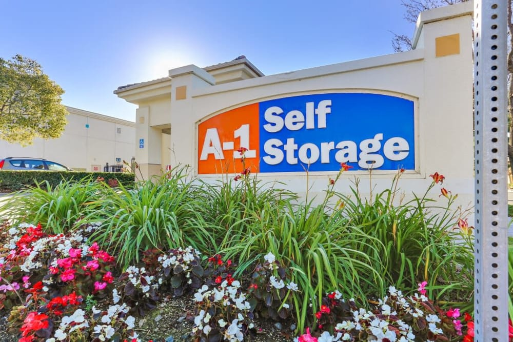Front sign at A-1 Self Storage in Paramount, California