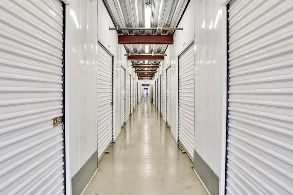 Row of indoor storage units at A-1 Self Storage in San Jose, California