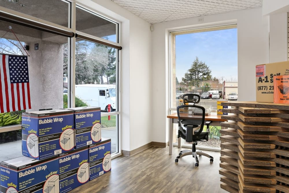 Inside our front office at A-1 Self Storage in San Jose, California