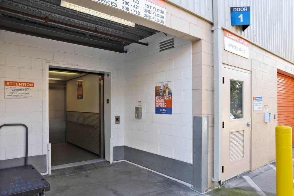 Outdoor elevator at A-1 Self Storage in Torrance, California