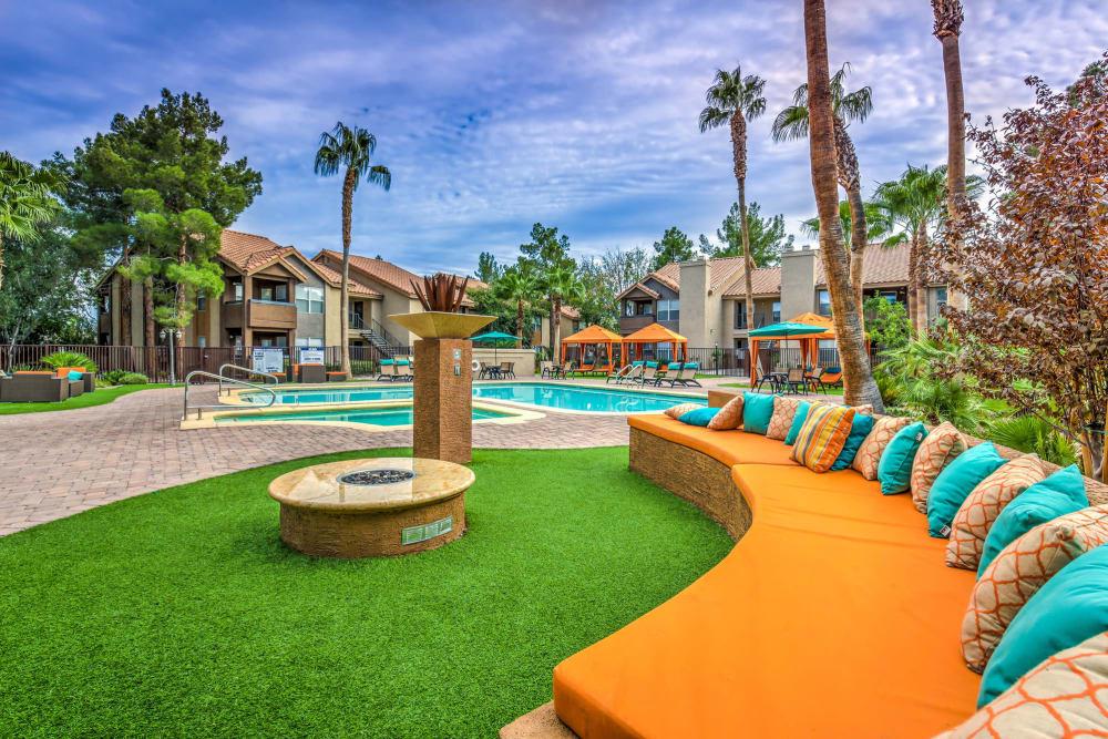 Beautifully designed swimming pool area at Solis at Flamingo in Las Vegas, Nevada