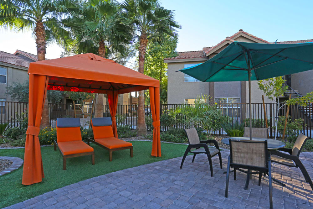 Plenty of cozy and shaded seating in outside common areas at Solis at Flamingo in Las Vegas, Nevada