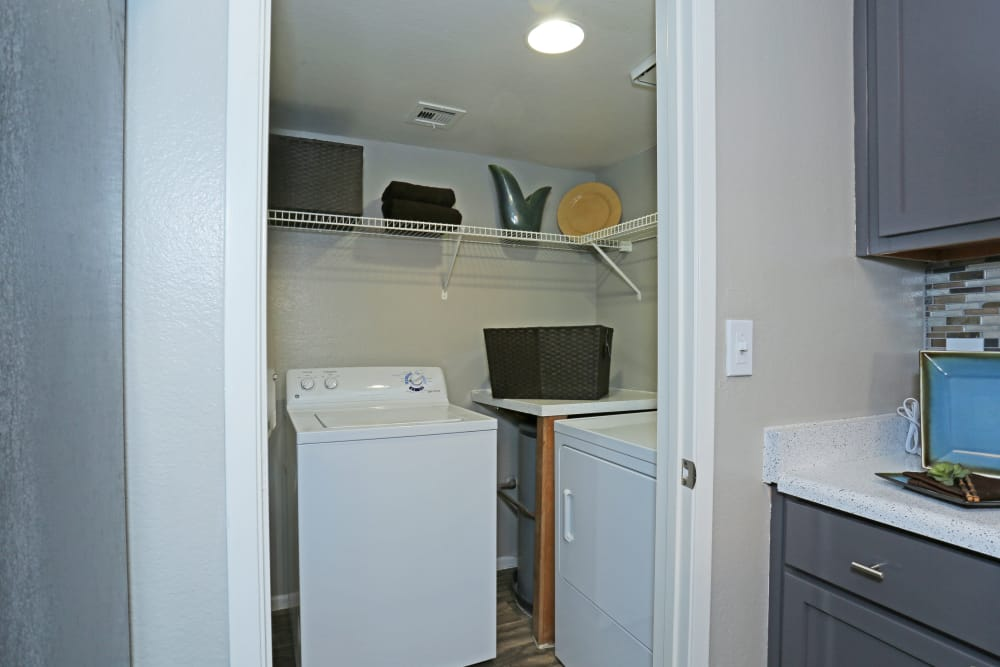 In-unit washer and dryer in model home at Solis at Flamingo in Las Vegas, Nevada