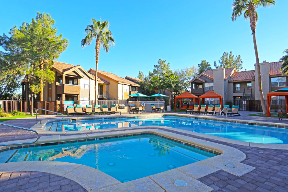 Gorgeous swimming pool area at Solis at Flamingo in Las Vegas, Nevada