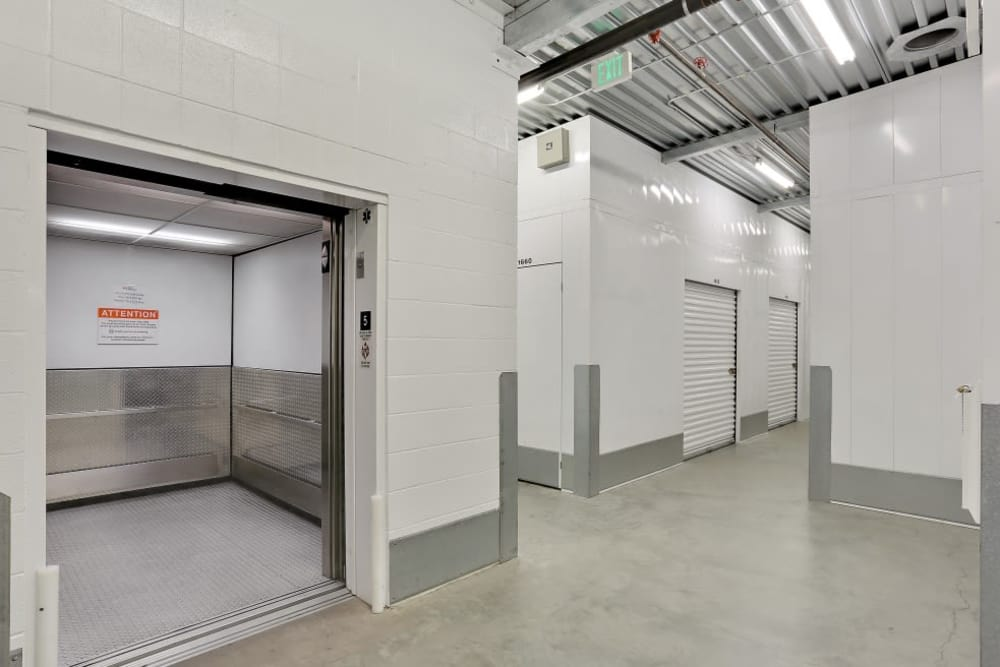 Clean indoor facility at A-1 Self Storage in San Diego, California