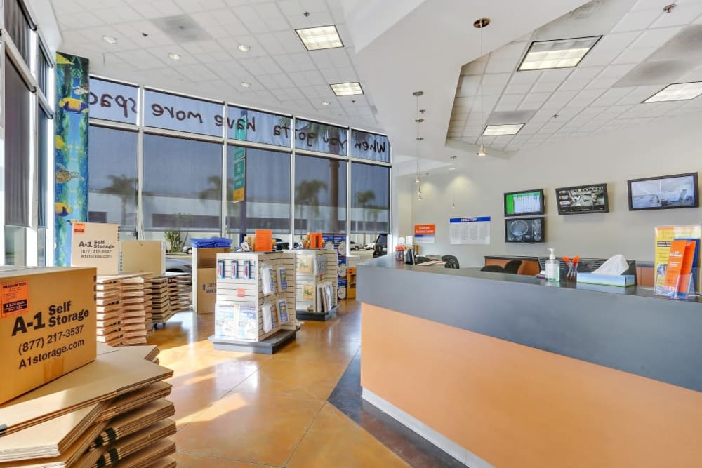 The front desk at A-1 Self Storage in San Diego, California