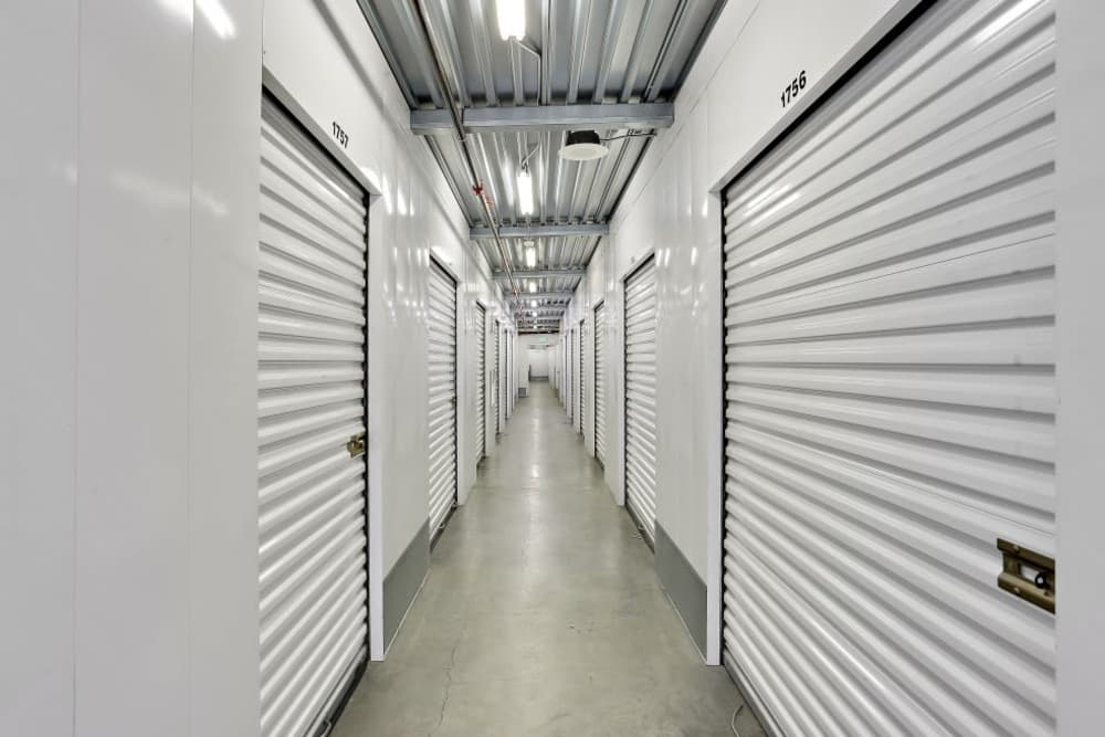 Row of indoor storage units at A-1 Self Storage in San Diego, California