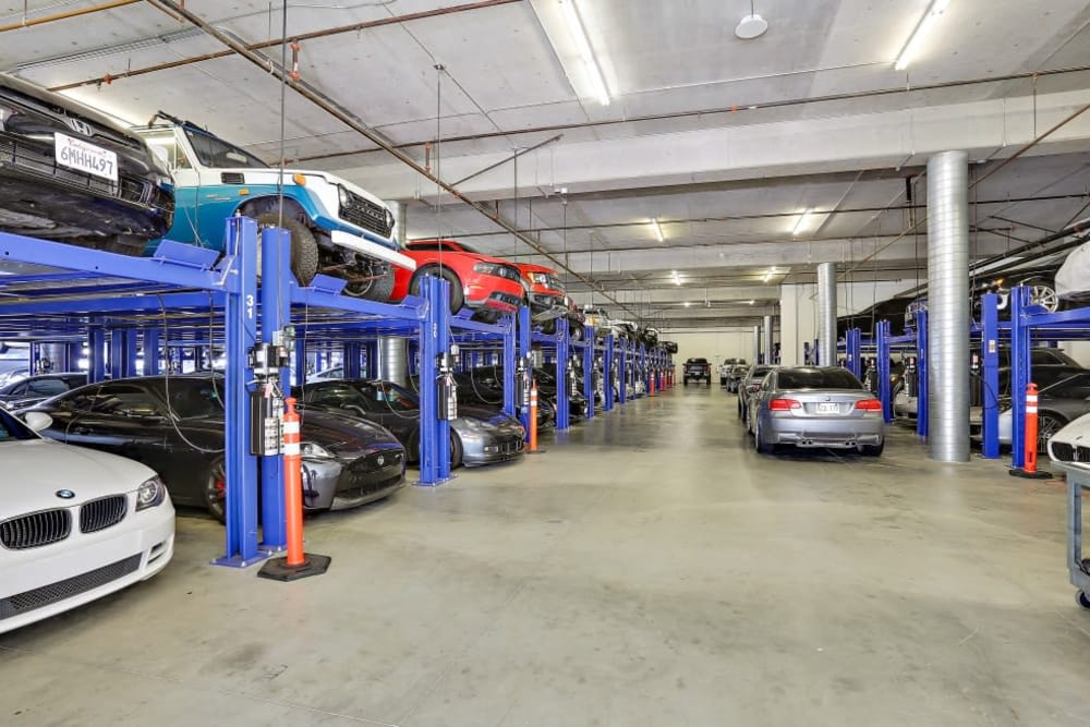 Rows of cars being stored at A-1 Self Storage in San Diego, California