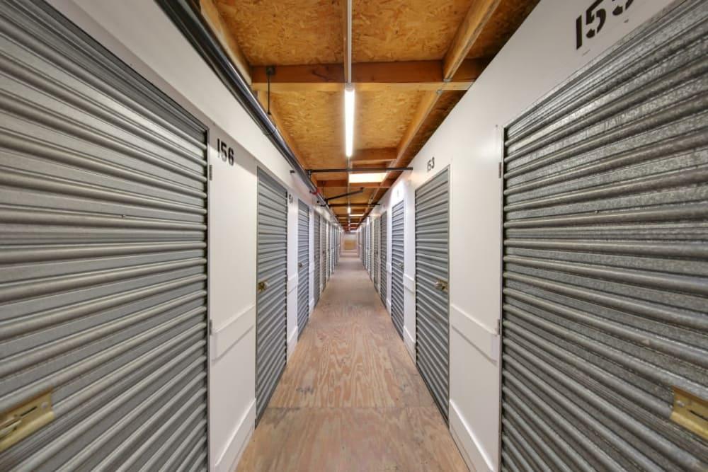 Row of indoor storage units at A-1 Self Storage in El Cajon, California