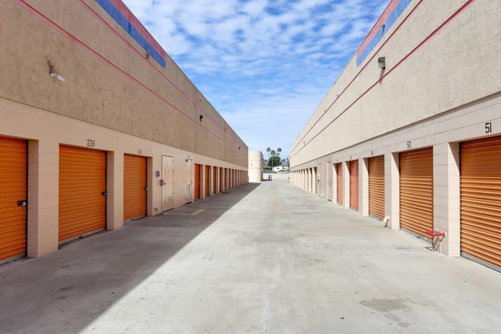 Row of outdoor storage units at A-1 Self Storage in El Cajon, California